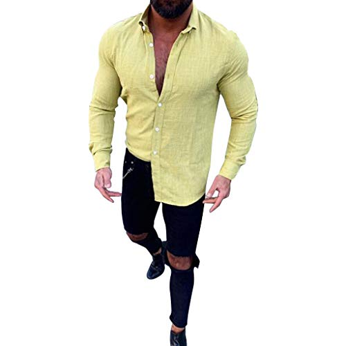 Men's Shirt Casual Slub Long Sleeved Button Down Turn-Down Collar Top Comfortable Linen Work Shirt (L, Yellow)