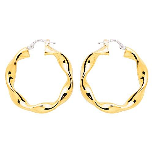 So Chic Bijoux © Boucles d'oreilles Femme Créoles Torsadées Diamètre 20 mm Fil 4 mm Or Jaune 750/000 (18 carats)