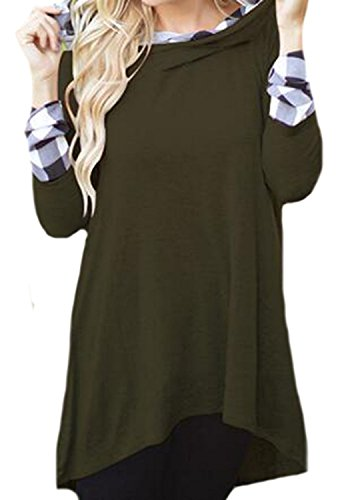 Johnells Fashion Comfortable Women Vogue Slim Fit Grid Spell Plus Size Loose Hoodies Tops Green - Mall Shop Avalon