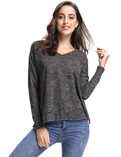 Abollria Women's V Neck T-Shirt Long Sleeve Pleated Casual Tee Shirt Tops