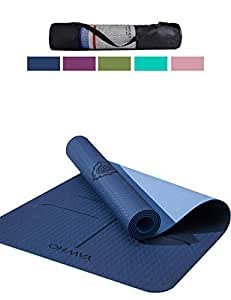 Yoga Mat Fitness Mat Eco Friendly Material SGS Certified Ingredients TPE Specifications 72'' x 24'' Thickness 1/4-Inch Non-Slip Extra Large Yoga Mat with Carry Strap and Carry Bag (Blue)