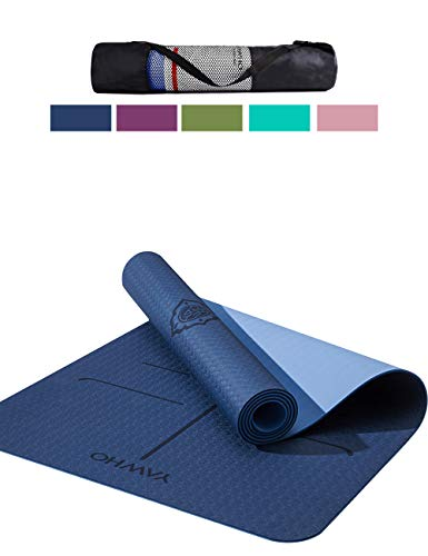 - YAWHO Yoga Mat Fitness Mat Eco Friendly Material SGS Certified Ingredients TPE Specifications 72'' x 26'' Thickness 1/4-Inch Non-Slip Extra Large Yoga Mat with Carry Strap and Carry Bag (Blue)