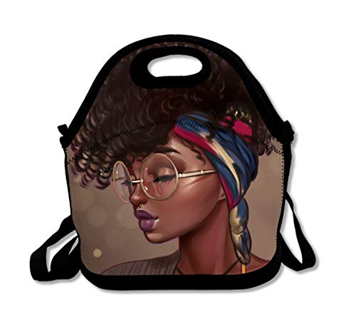 SARA NELL Neoprene African Women Lunch Bag Insulated African American Women Folk Custom Black Art Lunch Backpack Lunchbox Handbag with Adjustable Shoulder Strap Best Gift for Men Women Teen Boys Girls]()