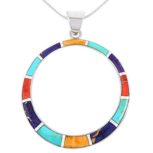 Gemstone Pendant Necklace in 925 Sterling Silver Genuine Turquoise & Gemstones (24