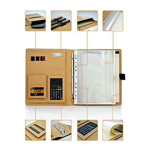 Goodjobb Multi-Function Manager Folder with Calculator Business Document Holder Travel Folder,Brown by Goodjobb (Image #3)