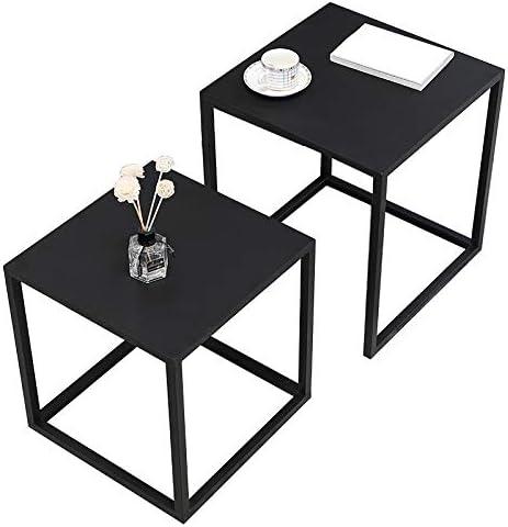 LAMXF Juegos de Mesa para Sala de Estar Mueble, Mesas de café para Espacios pequeños, Juego de 2 mesas Modernas de Metal, Negro: Amazon.es: Hogar