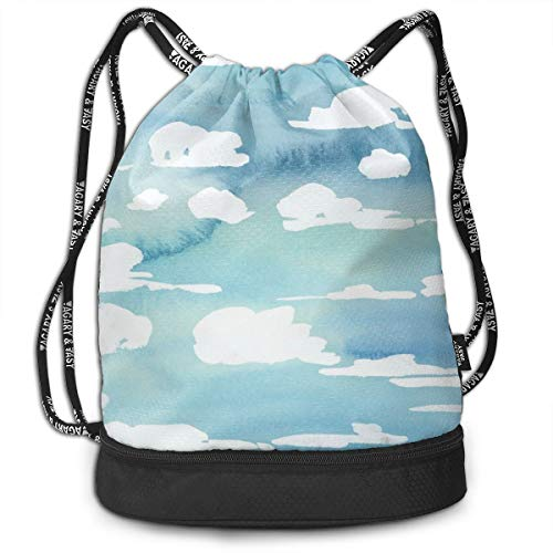 Bulk Drawstring Backpack, Lightweight Gym Sport Bundled Bag Wet Dry Separated Yoga String Cinch Tote Bag Multipurpose Casual Bag For Adult Kids - Cloud Desktop