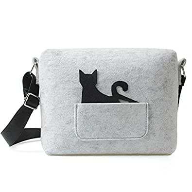New Cat Small Bags Cat Felt Cross-body Shoulder Bag Purse for Girls and Ladies Grey Size: Small