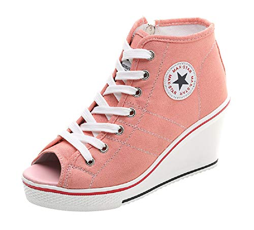 ACE SHOCK Women Wedge Sneakers Wide Width Fashion High Heeled Platform Canvas Shoes (US 8.5, Star Peep-Toe Pink)