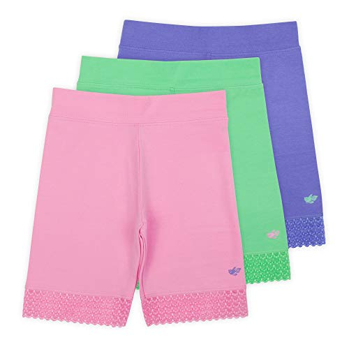 (Lucky & Me (3 Pack Jada Girls Bike Shorts and Dance Shorts | Tagless | Super Soft Cotton with Lace Trim | Good Coverage)