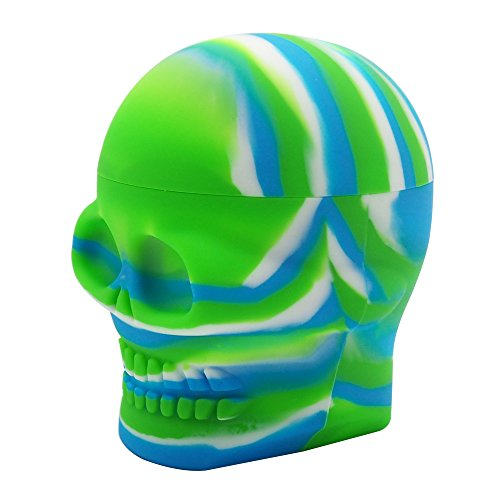 YHSWE 1 500ml Big Skull Shape Non-stick Silicone Concentrate Container Wax Jar Oil Box Stoarge Canister Blue/Green/White