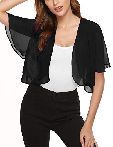 Aibrou Women Short Ruffle Sleeve Sheer Bolero Shrugs Chiffon Cardigans for Dresses Black -