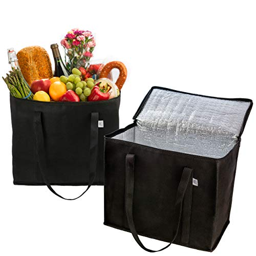 2 Pack Reusable Grocery Shopping Bag by Ks Country - Insulated Tote for Hot or Cold Food - Sturdy Dual Zipper and Large Reinforced Handles for Extra Strength - Collapsible and Stands Upright – Black