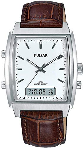Pulsar Gents Brown Leather Analogue/Digital Watch PBK033X1