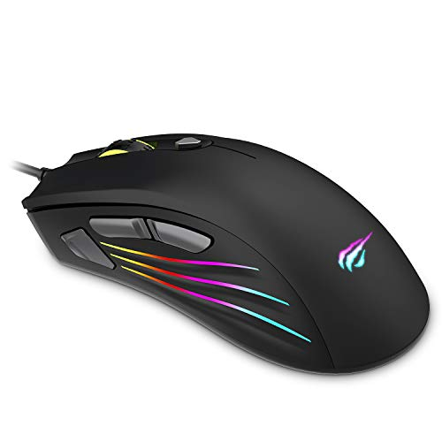 Havit RGB Gaming Mouse Wired(7200DPI)Programmable LED Computer Mice USB for Windows PC Gamer Desktop Laptop