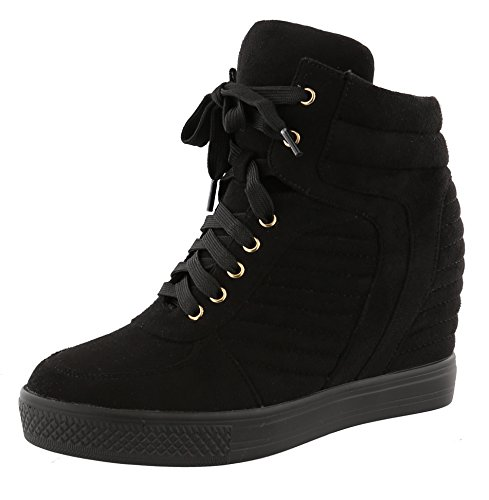Top Moda Women's Closed Round Toe High Top Lace-Up Fashion Sneaker Wedge