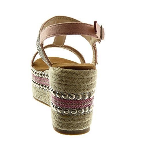 Mujer Strass Sandalias Correa Angkorly Plataforma 5 Cuerda Correa cm Plataforma Tachonado Zapatillas 8 de Moda Rosa Tobillo Mules vwxz8qwS