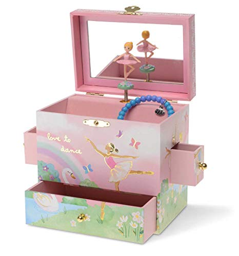 Jewelkeeper Ballerina Musical Jewelry Box with 3 Drawers, Rainbow Design, Swan Lake Tune