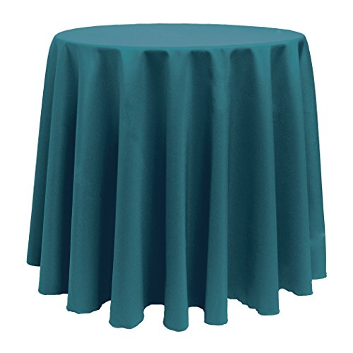 Ultimate Textile (2 Pack) 90-Inch Round Polyester Linen Tablecloth - for Wedding, Restaurant or Banquet use, Teal (Teal Table Cloth Linen)