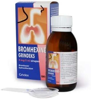 BROMHEXINE-GRINDEKS 4 mg /5 ml Complemento alimenticio para la Fluidez de las Secreciones Bronquiales - Acción Rápida y Eficaz 100ml
