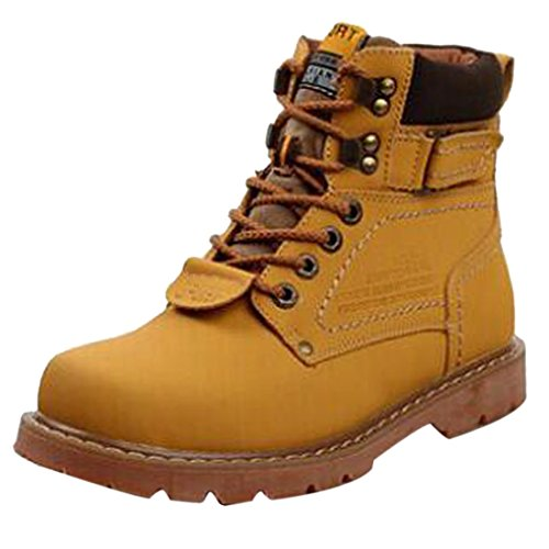 Hommes Lace Up Martin Bottines Coton Epaissir Crust Outillage Bottes Souliers Or