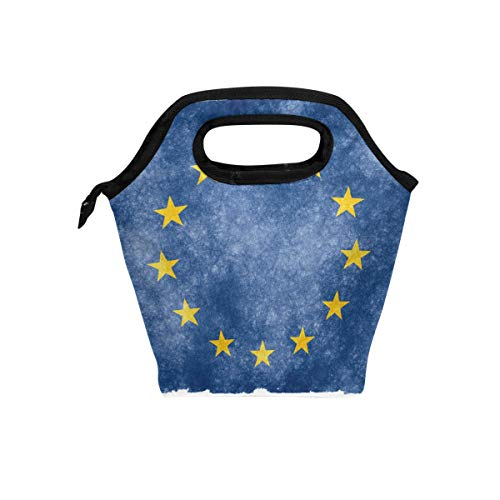 European Union Flag Lunch Bag Cooler Tote Bag Insulated Lunch Box for Outside Traveling Office School