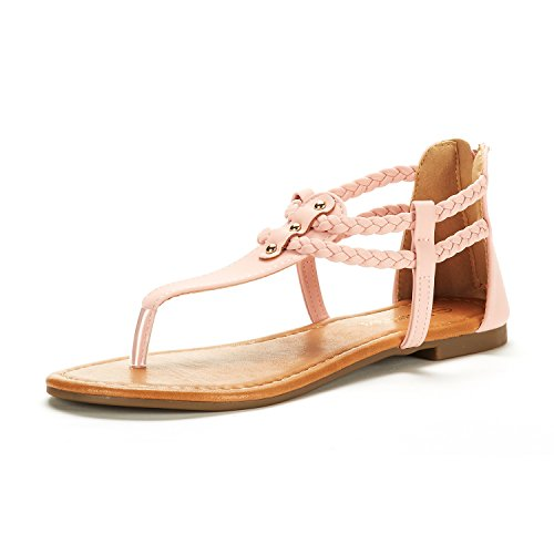 DREAM PAIRS Women's Maxi_02 Blush Fashion Gladiator Design Ankle Strap Flat Sandals Size 7.5 M US