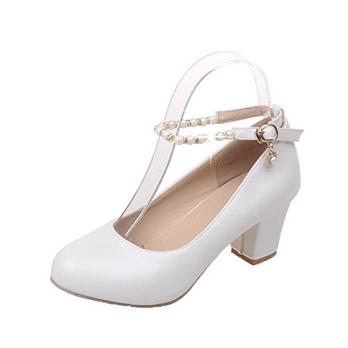 Amoonyfashion Hebilla Para Mujer De Punta Redonda Kitten-heels Pu Solid Pumps-Zapatos Blanco