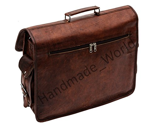 Handmade_world Leather Messenger Bag Brown 18 Inch Air Cabin Briefcase Leather Cross Body Shoulder Large Laptop School Bag by Handmade_world (Image #5)