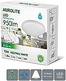 AUROLITE LED 12W IP44, Ø 26cm, 950LM, Bathroom, Kitchen, Hallway, Office, Corridor, Flush, Bath Ceiling Light, High Quality, 1 Year Warranty (4000K)