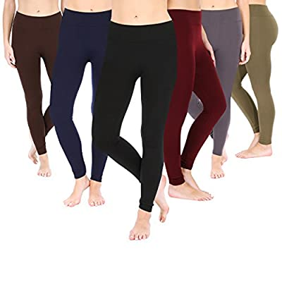 Posh by Anna Women's Fashion Leggings 6pk- 6 Colors - Full Length, Fleece Lined
