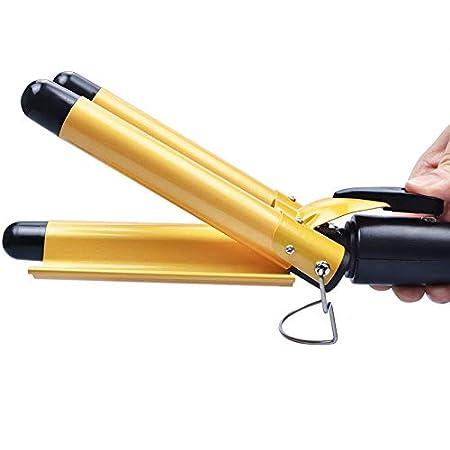 FidgetGear 22~32mm Digital Ceramic Triple Barrel 3 Rods Hair Waver Curling Iron Curler Wand Gold 28mm