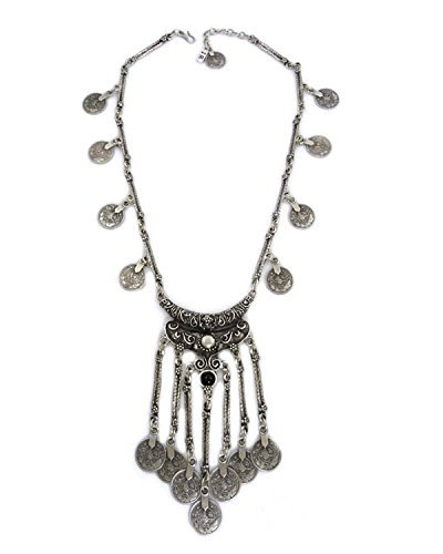 Young & Forever Women's Navratri Diwali Special Gypsy Bohemian Necklace Silver Toned by Young & Forever