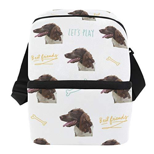 Cooler Bag Springer Spaniel, Double Deck Cooler Insulated Lunch Bag for Men Women Children