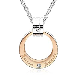 Beydodo Stainless Steel Pendant Necklace for Her Womens Necklaces Circle Rings Rose Gold Cubic Zirconia