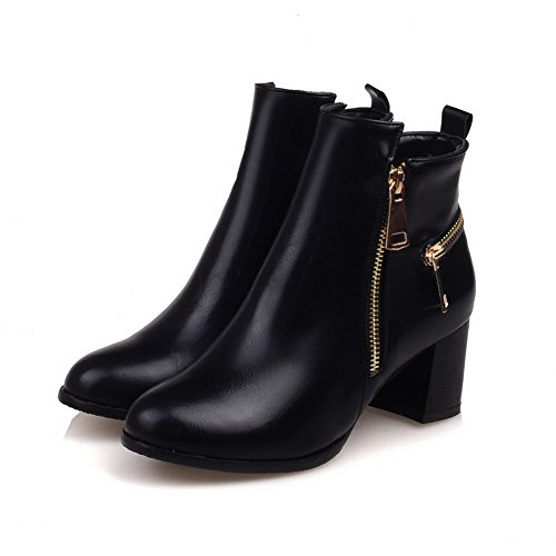 Toe Women's Boots Solid Kitten Material Round Soft Zipper Closed Heels Black WeenFashion 1HTAq