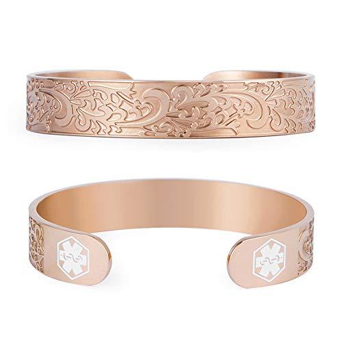 Rose Gold Medical Alert ID Cuff Bracelet for Women Girls Medical Jewelry Free Engraving