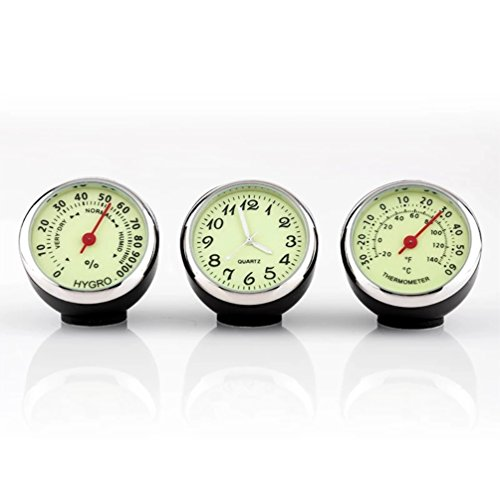 Price comparison product image Towashine 3Pcs / set Luminous Car Dashboard Clock Hygrometer Thermometer Gauge Small Dash Mount with 3M Adhesive