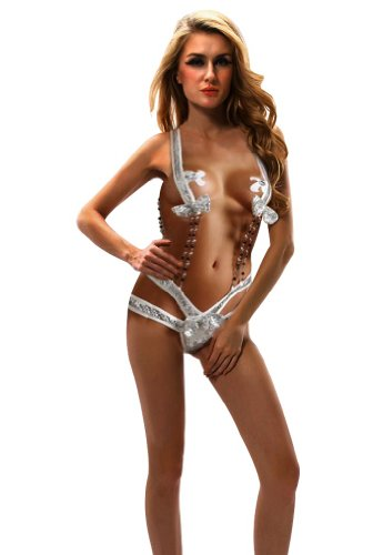 Amour Women's Pailletted Teddy beads Chain & Pasties Stripper Wear