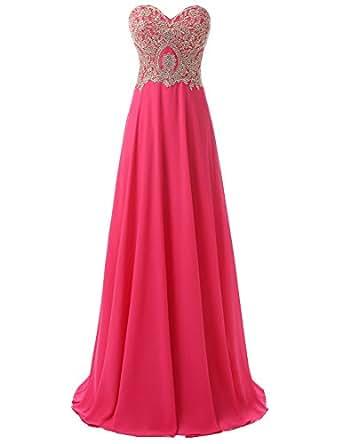 Sarahbridal Juniors Sweetheart Bridesmaid Dresses Beaded Chiffon Prom Ball Gwons Fuchsia US2