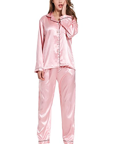 VlSl Womens Silk Satin Pajamas Set Two-Piece Long Sleeve Long Button-Down Sleepwear Loungewear (X-Large, USS Deep Pink) (Sets Womens Pajamas Pink)