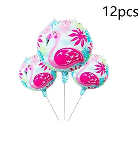 12pcs Flamingo Foil Balloons Hawaiian Party Balloons Decoration Mylar Helium Balloons Tropical Hawaii Luau Party Favor Supplies 18Inch - Pink -