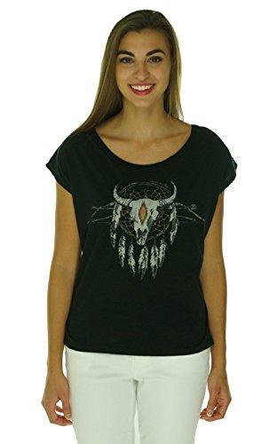 Denim & Supply Ralph Lauren Womens Graphic Tie-Back Pullover Top Black (Ralph Lauren Black Denim)