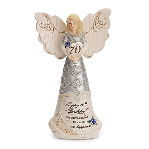 Pavilion Gift Company 82416 Elements 70th Birthday May Today's Wishes Fill Your Life with Happiness 6 Inch Angel Figurine (Presents Birthday 70th)