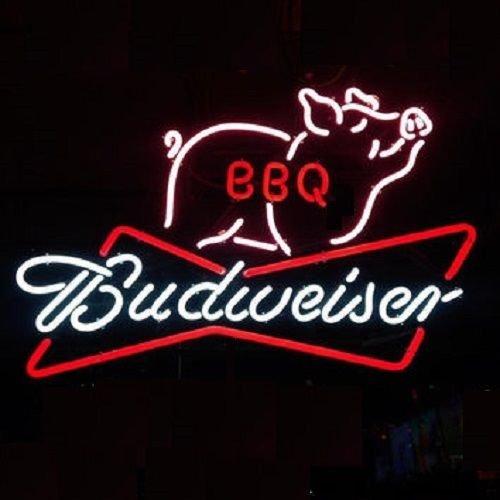 Desung新しいB udweiser BBQ Pig MeatsバーベキューNeon Sign (複数サイズあり) Man Cave Signsスポーツバーパブビールネオンライトランプガラスネオンライトcx229 20 Inches 20 Inches  B0744Q2QM9