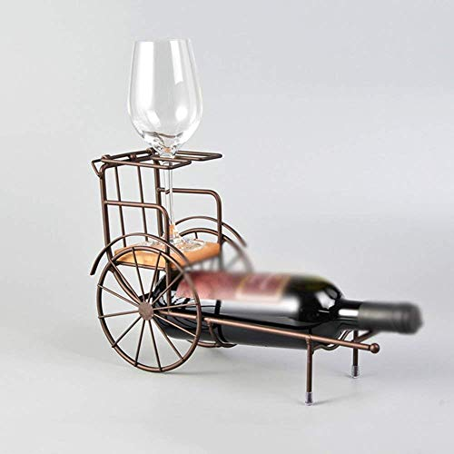 PLLP Bar Wine Rack, Wine Bottle Rack, Decorative Wine Rack,Wine Racks Iron Bamboo Bronze Glasses Single Bottle Creative Newfangled to Ccompliment Any Space (Style : A),B (Bronze Bamboo Single)