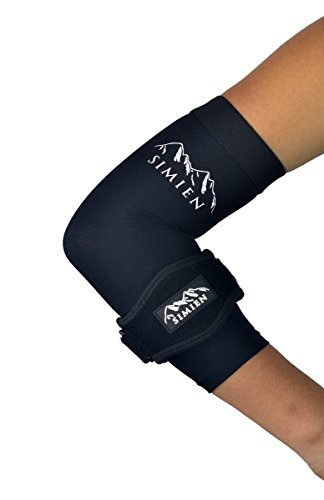 SIMIEN Elbow Brace + Sleeve Compression Combo (1-count each) - MEDIUM - Reduces Inflammation for Tennis Elbow, Golfer's Elbow, Tendonitis Pain - 88% Copper Sleeve - Results or (Tennis Elbow Guard)