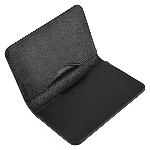 Leather Business Card Holder (MaxGear 2-Sided Genuine Leather Business Card Holder Clemence Name Card Holder Minimalist Leather Folio Wallet for Men and Women Cowhide Black New)