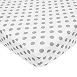 TL Care 100% Cotton Percale Fitted Crib Sheet for Standard Crib and Toddler Mattresses,  White with Grey Dot, 28