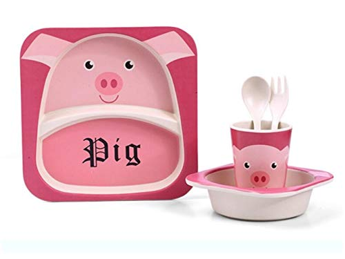 Yuchoi Contemporary Bamboo Fiber Cartoon Animal Dish Children Plate Fork Spoon Cup Set for Kids(Pig) by Yuchoi